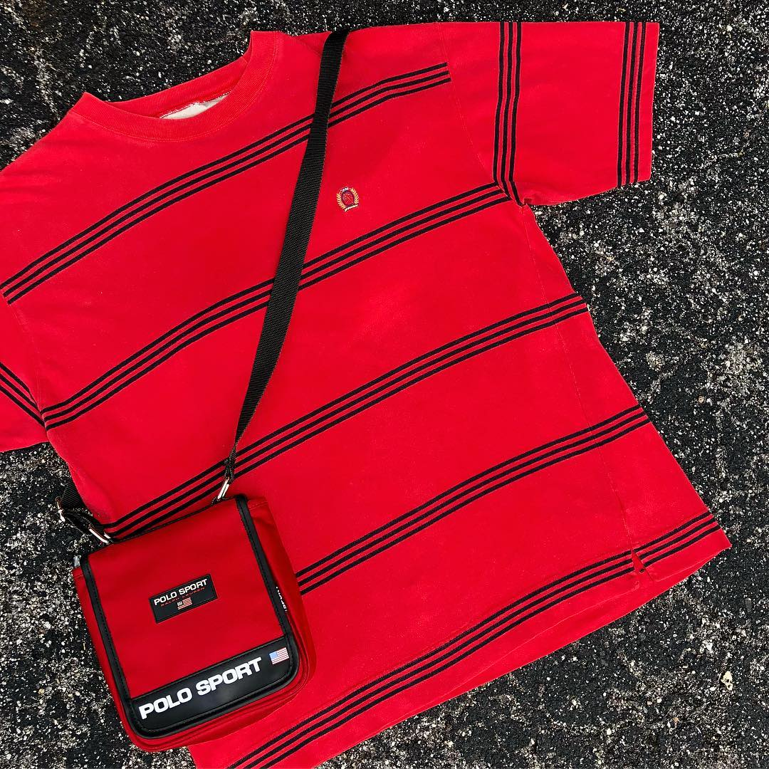 90s Tommy Stripes & Polo Bags just hit the site 📲